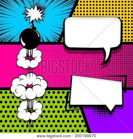 Vector halftone illustration. Blank humor graphic. Pop art comics book magazine cover template. Cartoon funny vintage strip comic superhero text, speech bubble, balloon, box message, burst bomb.