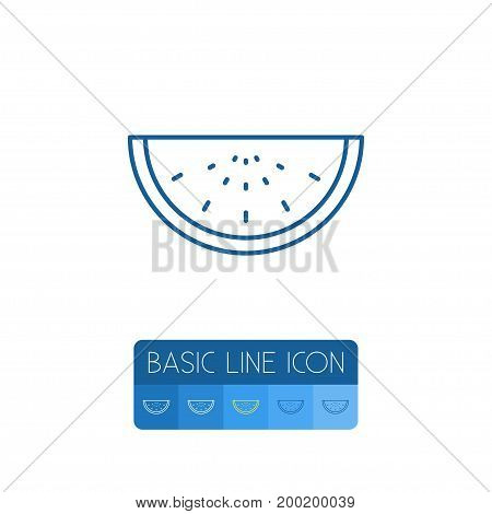 Melon Slice Vector Element Can Be Used For Watermelon, Melon, Slice Design Concept.  Isolated Watermelon Outline.