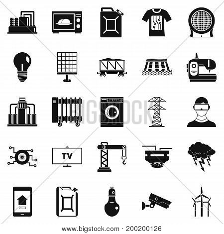 Electrician icons set. Simple set of 25 electrician vector icons for web isolated on white background