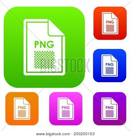 File PNG set icon in different colors isolated vector illustration. Premium collection