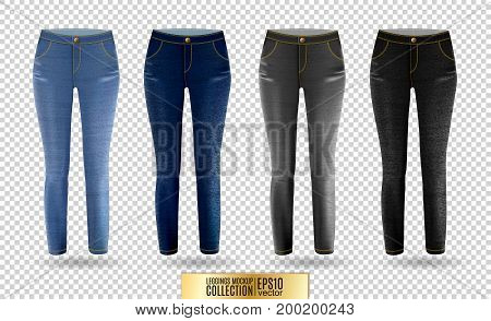 Blank leggings mockup set, blue and gray denim on transparent background. Clear leggins template. Cloth pants design presentation. Sport pantaloons stretch tights model wearing.