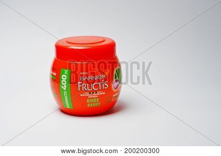Hai, Ukraine - August 10, 2017: Close-up Photo Of A Hair Repairing Mask By Garnier Fructis In Red Bo