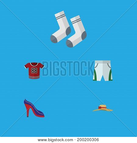 Flat Icon Garment Set Of Heeled Shoe, Foot Textile, Elegant Headgear And Other Vector Objects