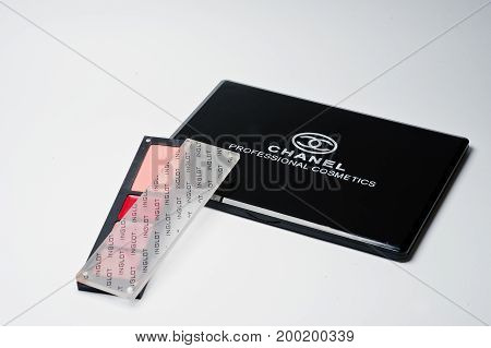 Hai, Ukraine - August 10, 2017: Close-up Photo Of Closed Eyeshadow Makeup Palette By Chanel And Smal