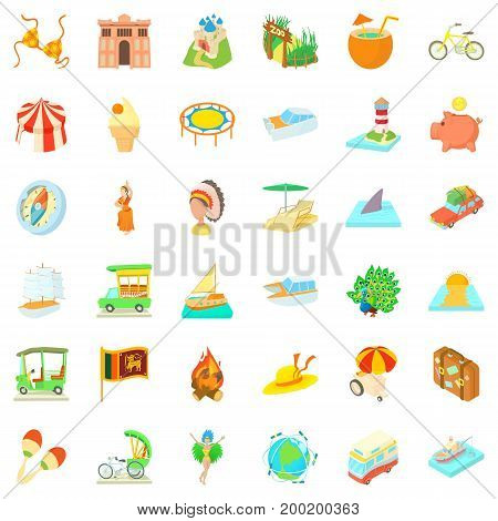 Adventure boat icons set. Cartoon style of 36 adventure boat vector icons for web isolated on white background