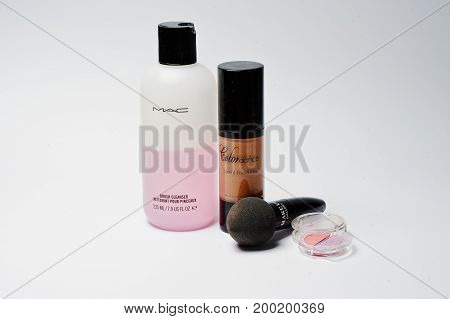 Hai, Ukraine - August 10, 2017: Close-up Photo Of Brush Cleanser By Mac, Liquid Foundation By Colord