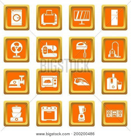Household appliances icons set in orange color isolated vector illustration for web and any design