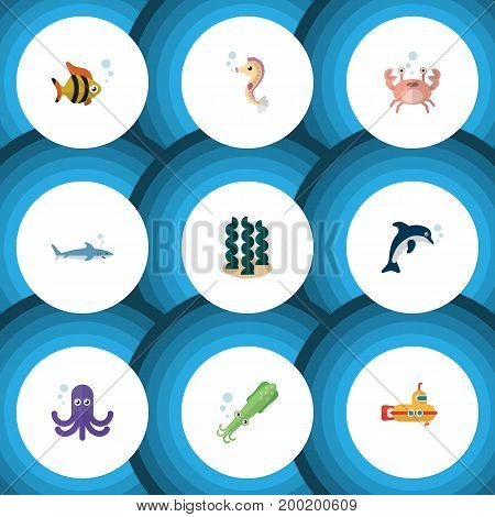Flat Icon Sea Set Of Shark, Cancer, Hippocampus And Other Vector Objects