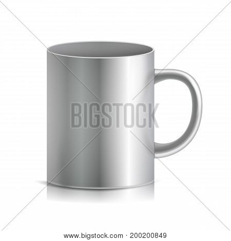 Metal Cup, Mug Vector. 3D Realistic Metallic Chrome, Silver Cup Isolated On White Background. Classic Mug With Handle Illustration.