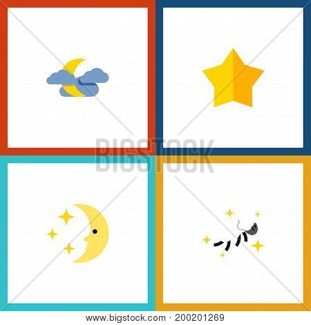 Flat Icon Midnight Set Of Night, Starlet, Midnight And Other Vector Objects