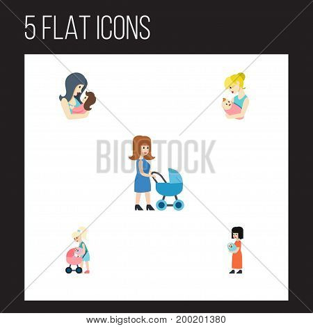 Flat Icon Mother Set Of Mother, Perambulator, Baby And Other Vector Objects
