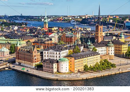 Old Town (Gamla Stan) of Stockholm Sweden. Aerial view on city skyline on Riddarholmen island