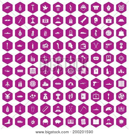 100 war crimes icons set in violet hexagon isolated vector illustration