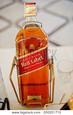 Hai, Ukraine - August 10, 2017: Close-up Photo Of Red Label Whiskey On The Table In Restaurant Or Ba