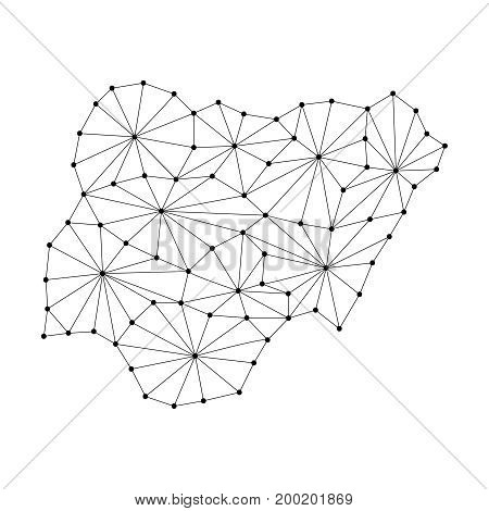 Nigeria map of polygonal mosaic lines network rays and dots vector illustration.