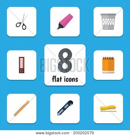 Flat Icon Equipment Set Of Notepaper, Dossier, Supplies And Other Vector Objects