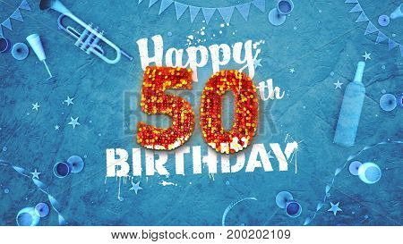 Happy 50Th Birthday Card With Beautiful Details