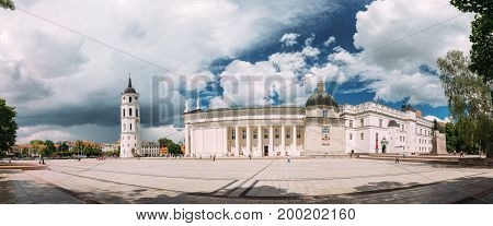 Vilnius, Lithuania - July 5, 2016: Panorama Of Bell Tower Chapel And Cathedral Basilica Of St. Stanislaus And St. Vladislav On Cathedral Square, Famous Landmark In Sunny Summer Day