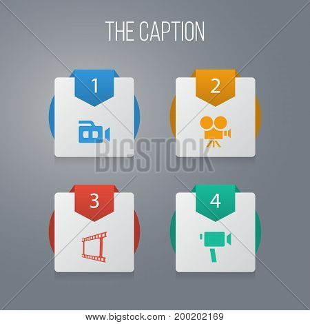 Icon Film Set Of Device, Photo Tape, Recording And Other Vector Objects