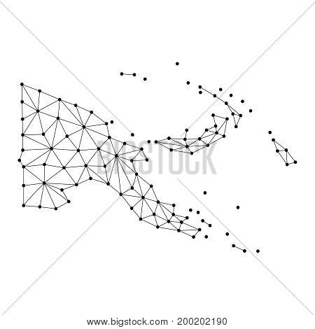Papua New Guinea map of polygonal mosaic lines network rays and dots vector illustration.