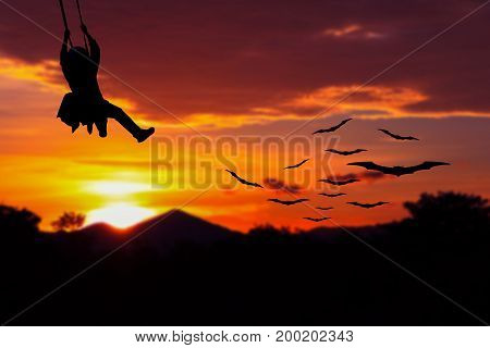 soldier silhouette parachute with a bat Vampire flying red sky on sunset in forest the Halloween night Concept with copy space add text