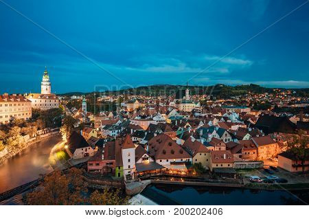 Cesky Krumlov, Czech Republic. Famous Town And Popular Touristic Place. Night Cityscape In Blue Hour. UNESCO World Heritage Site.
