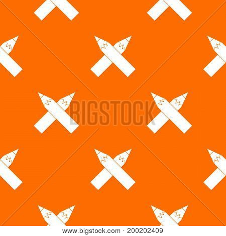 Two crossed pencils pattern repeat seamless in orange color for any design. Vector geometric illustration