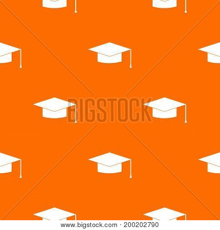 Graduation cap pattern repeat seamless in orange color for any design. Vector geometric illustration