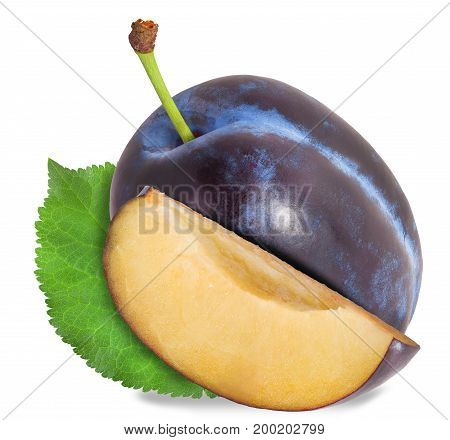 Plum And Half Of Fruit On A White. File Contains Clipping Paths.