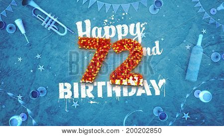 Happy 72Nd Birthday Card With Beautiful Details