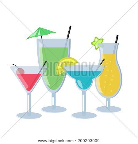 Set of alcoholic cocktails isolated on white background. Different cocktails with blue, orange, green and red color. Nice design glasses with alchohol. Vector Illustration