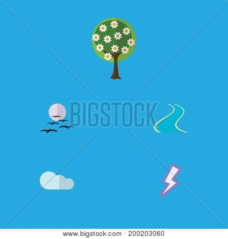 Flat Icon Ecology Set Of Lightning, Overcast, Tributary And Other Vector Objects