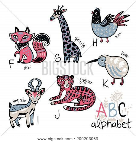 Zoo alphabet with cartoon animals. Wall art print. English ABC vector design for kids