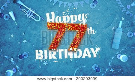 Happy 77Th Birthday Card With Beautiful Details
