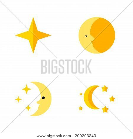 Flat Icon Midnight Set Of Star, Bedtime, Nighttime And Other Vector Objects