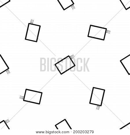 One phone pattern repeat seamless in black color for any design. Vector geometric illustration