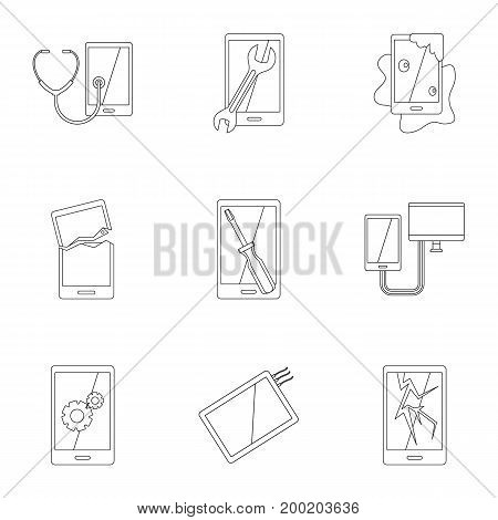 Broken phones fix icon set. Outline style set of 9 broken phones fix vector icons for web isolated on white background