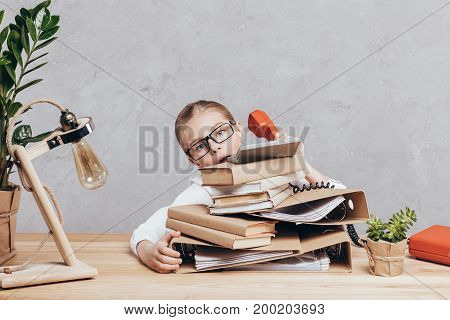 Busy Child At Workplace