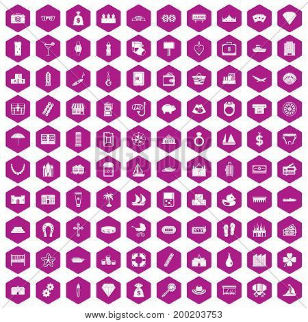 100 wealth icons set in violet hexagon isolated vector illustration