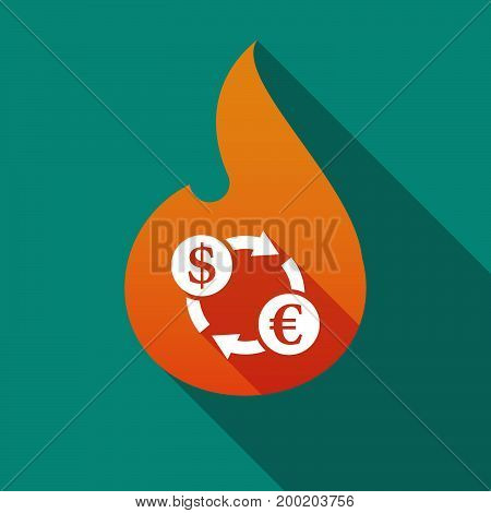 Long Shadow Flame With A Dollar Euro Exchange Sign