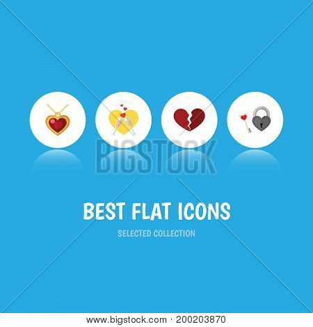 Flat Icon Love Set Of Celebration, Divorce, Necklace And Other Vector Objects