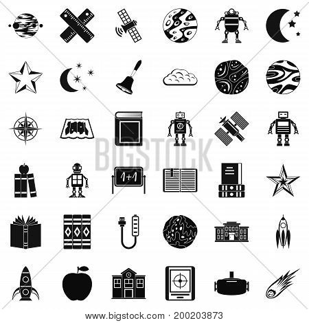 Astronomy exploration icons set. Simple style of 36 astronomy exploration vector icons for web isolated on white background