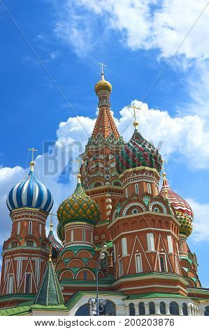 View on Moscow Saint Basil's Cathedral church on Red Square. Red brick antique architecture. Russia Moscow symbol. Moscow holidays vacation tours famous sightseeing. Moscow Red Square Kremlin museums