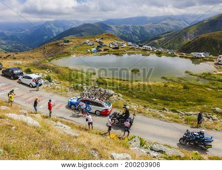 Col de la Croix de Fer France - 23 July 2015:The French cyclist Alexandre Geniez of FDJ Team leading the race riding to the Col de la Croix de Fer in Alps during the stage 20 of Le Tour de France 2015.