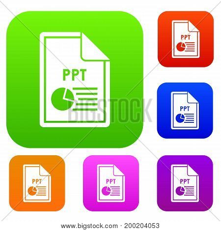 File PPT set icon in different colors isolated vector illustration. Premium collection