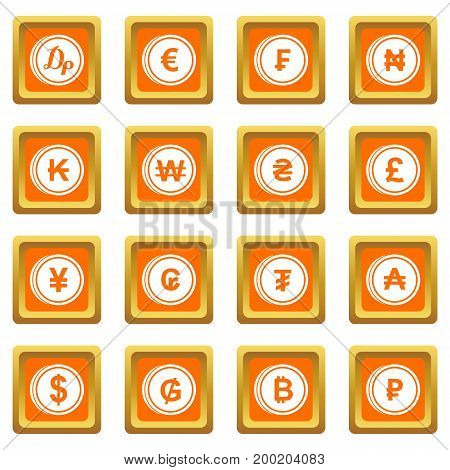 Currency from different countries icons set in orange color isolated vector illustration for web and any design
