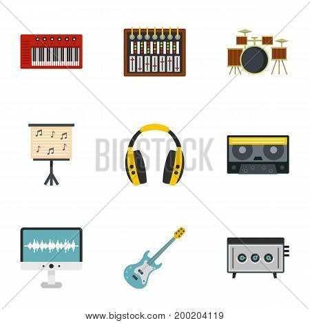 Sound studio icon set. Flat style set of 9 sound studio vector icons for web isolated on white background
