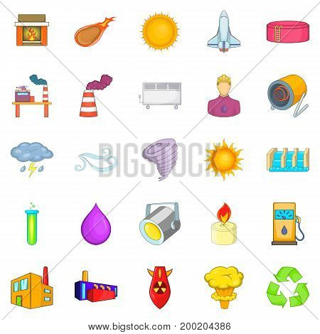 Renewable energy icons set. Cartoon set of 25 renewable energy vector icons for web isolated on white background