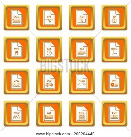File format icons set in orange color isolated vector illustration for web and any design