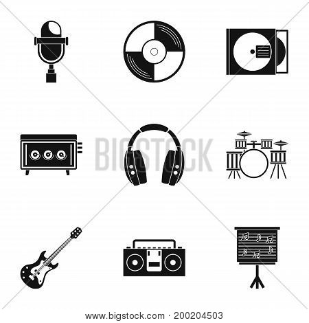 Sound producing icon set. Simple style set of 9 sound producing vector icons for web isolated on white background